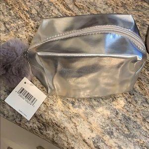 Metallic Silver Cosmetic Case w/ Pom Pom - NEW